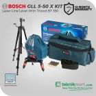 """Bosch GLL 5-50 X Kit Laser Line Level 5 Lines 15m With BT150 5/8"""" Tripod Profesional"""