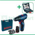 Bosch GSR 120-LI Gen3 12V Bor Baterai Reversible Dengan Mata Bor Bosch X-Line Set For Multi Material 33 Pcs