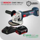 Bosch GWS 18 V-Li 18Volt 115mm Cordless Angle Grinder / Gerinda Tangan Baterai Full Set (Baterai 2.0 Ah)