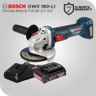 Bosch GWS 180-LI 18Volt Gerinda Tangan Baterai Brushless Full Set (Baterai 2.0 Ah)