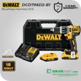 Dewalt DCD796D2 18V 2.0Ah Brushless Hammer Drill / Bor Tembok Baterai