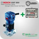 """Bosch GKF 550 550Watt Router Listrik Dengan Bosch Mata Router Set 6pcs 1/4"""" shank diameter"""