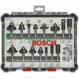 "Bosch 15Pcs Trim and Edging Router Bit Set with 1/4"" shank diameter"