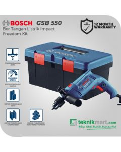 Bosch GSB 550 Freedom Kit 13mm Bor Listrik Impact Set